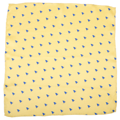 Catboat Pocket Square - Yellow, Printed Silk - SummerTies  - 2