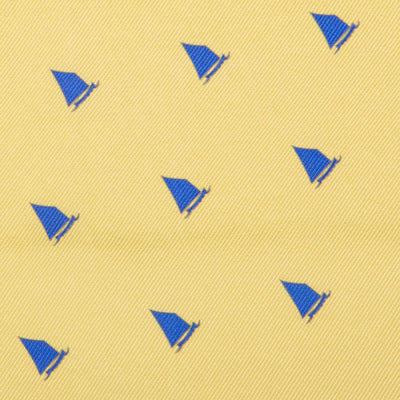 Catboat Pocket Square - Yellow, Printed Silk - SummerTies  - 3
