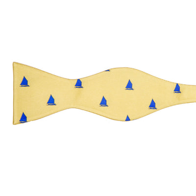 Catboat Bow Tie - Yellow, Printed - SummerTies