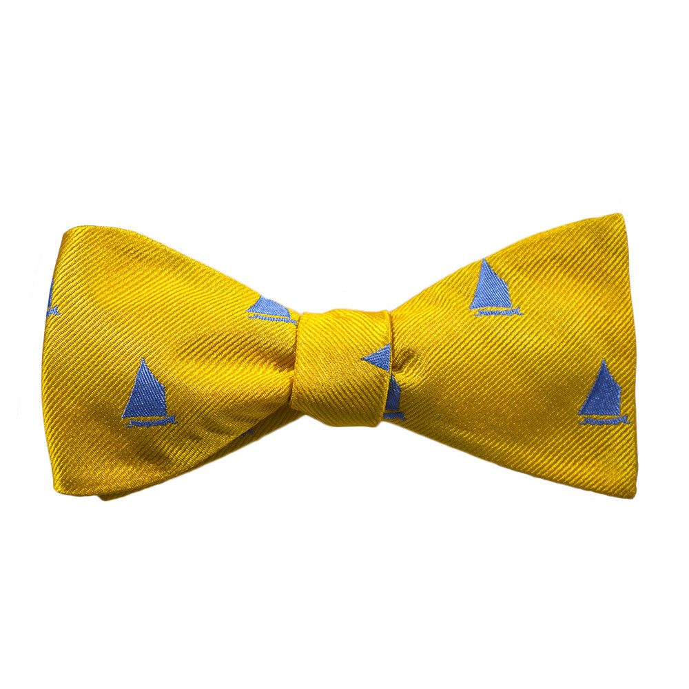 Catboat Bow Tie - Yellow, Woven Silk - SummerTies