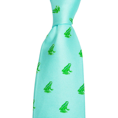 Frog Necktie - Light Blue, Printed Silk - SummerTies