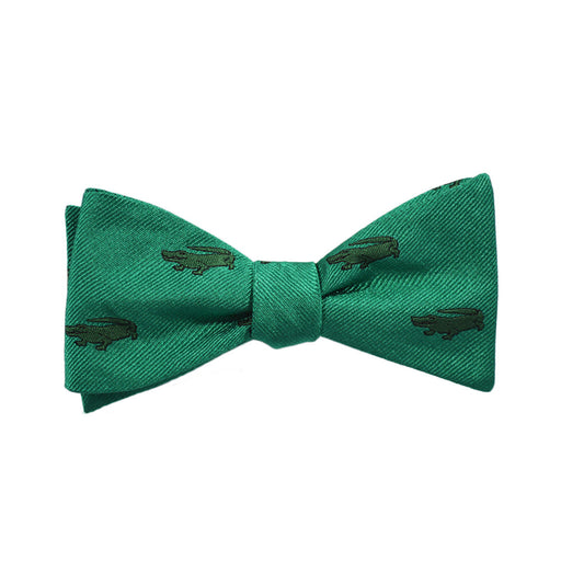 Alligator Bow Tie - Green, Woven Silk - SummerTies