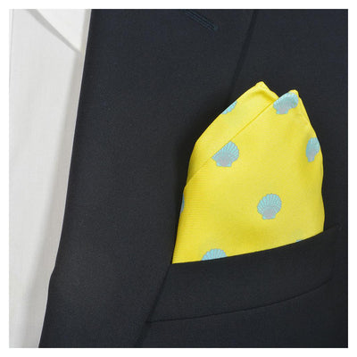 Sea Shell Pocket Square - Blue on Yellow - SummerTies  - 1