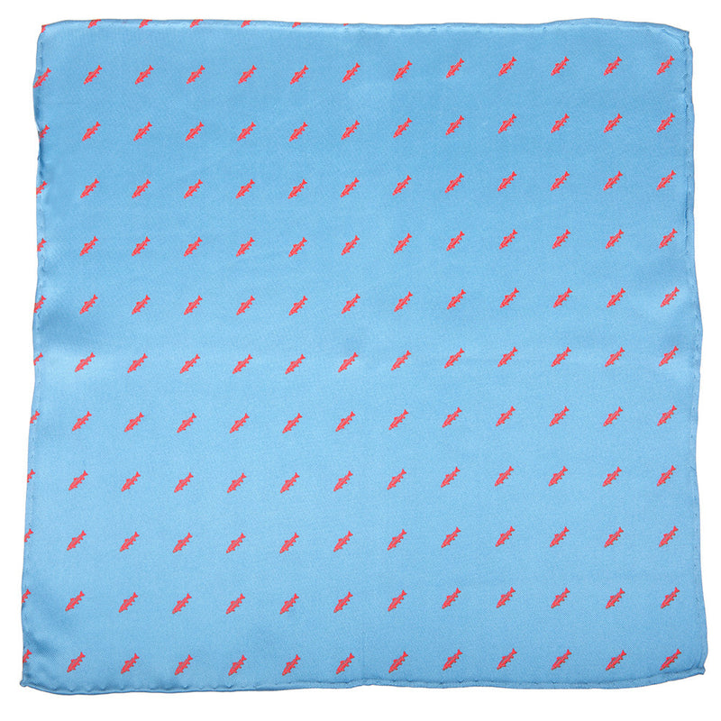 Trout Pocket Square - Light Blue - SummerTies