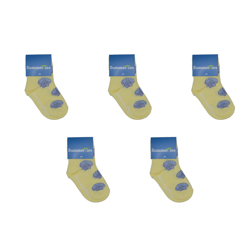 Sea Shell Socks - Toddler Crew Sock - Blue on Yellow - 5 Pairs - SummerTies