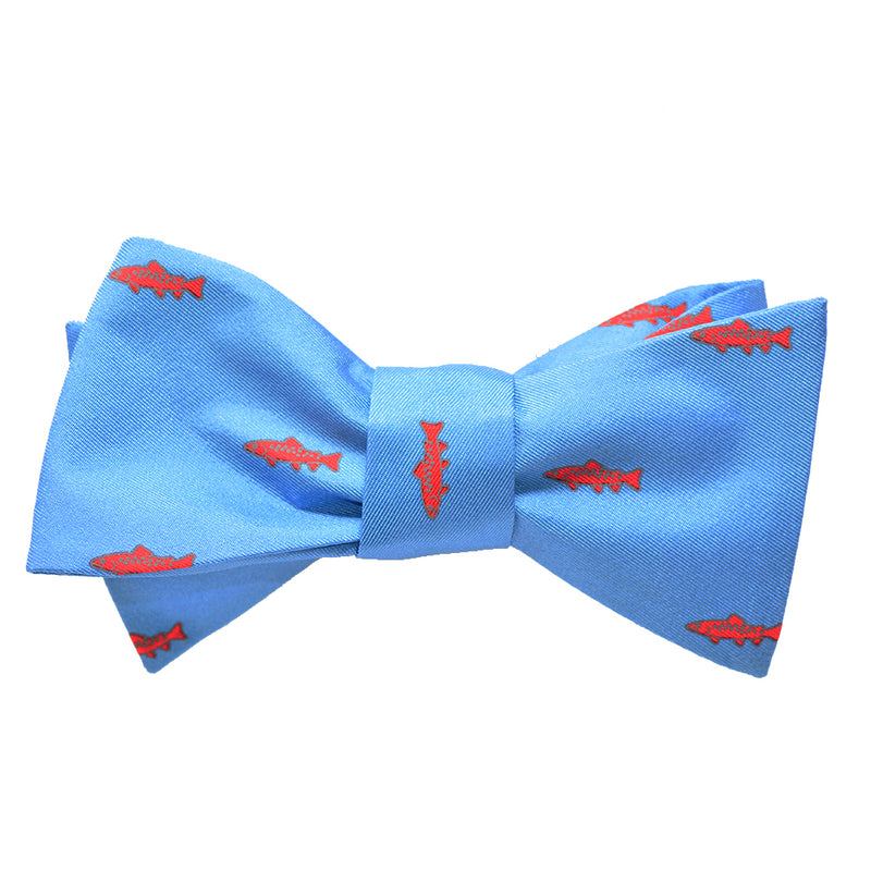 Trout Bow Tie - Light Blue, Printed Silk - SummerTies