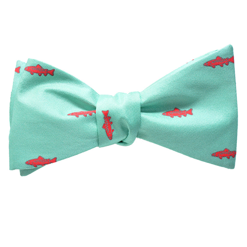 Trout Bow Tie - Light Green, Printed Silk - SummerTies
