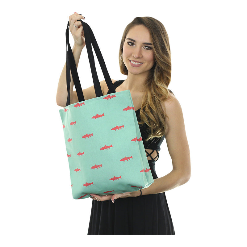 Trout Tote Bag - Coral on Light Green - SummerTies