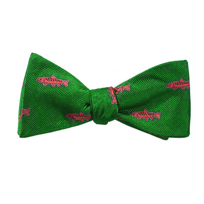 Trout Bow Tie - Green, Woven - SummerTies