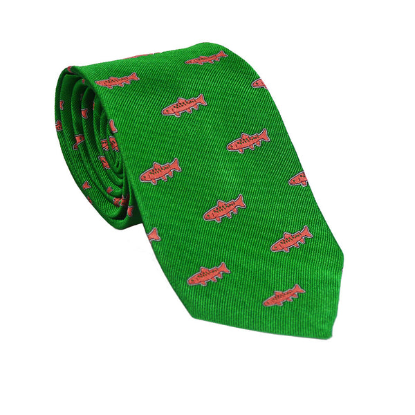 Trout Necktie - Green, Woven Silk - SummerTies
