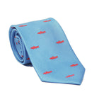 Trout Necktie - Light Blue, Printed Silk - SummerTies