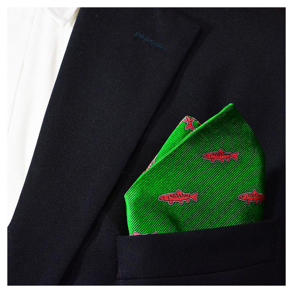 Trout Pocket Square - Green, Woven - SummerTies
