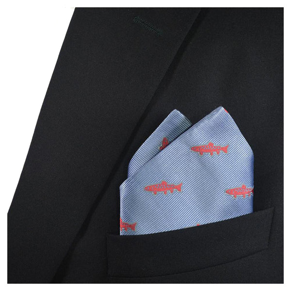 Trout Pocket Square - Light Blue, Woven - SummerTies