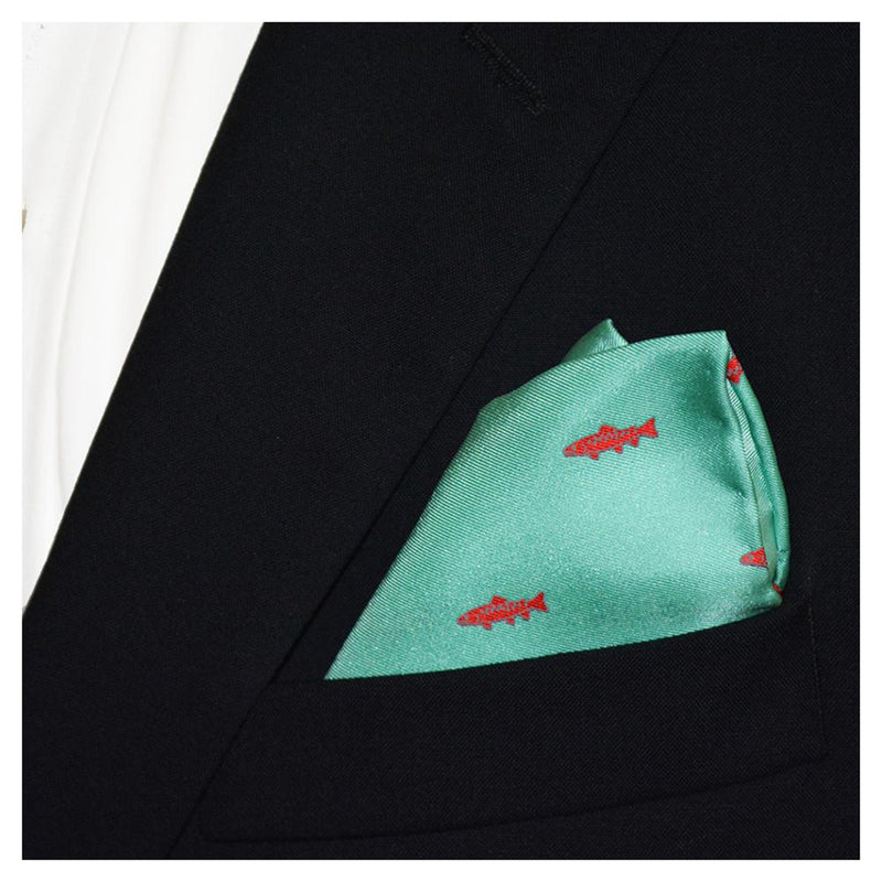Trout Pocket Square - Light Green - SummerTies