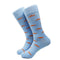 Trout Socks - Orange on Light Blue - Men's Mid Calf - SummerTies