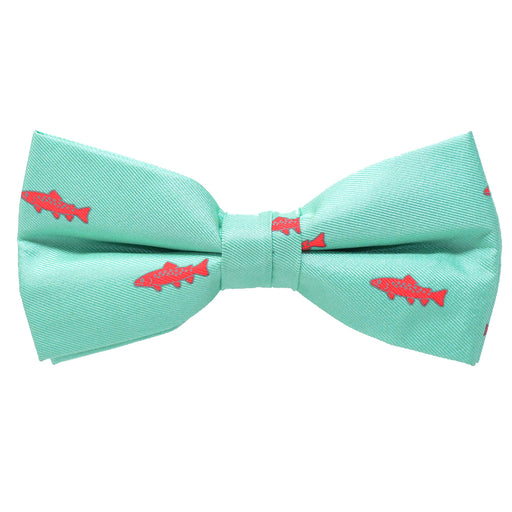 Trout Bow Tie - Light Green, Printed Silk, Pre-Tied for Kids