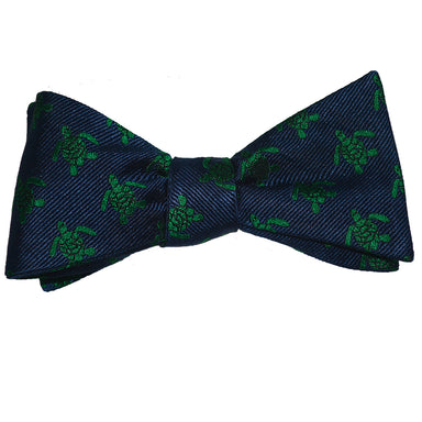 Turtle Bow Tie - Green on Navy, Woven Silk