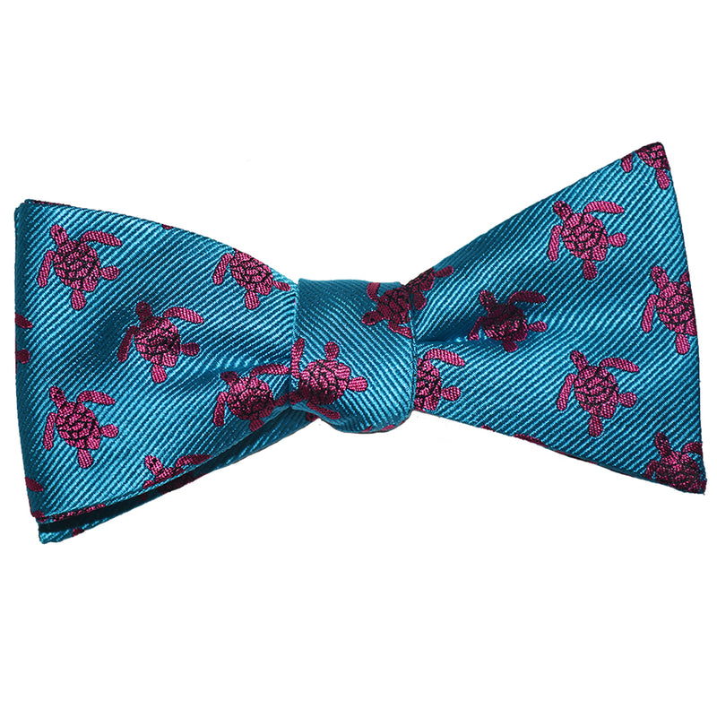 Turtle Bow Tie - Pink on Blue, Woven Silk - SummerTies