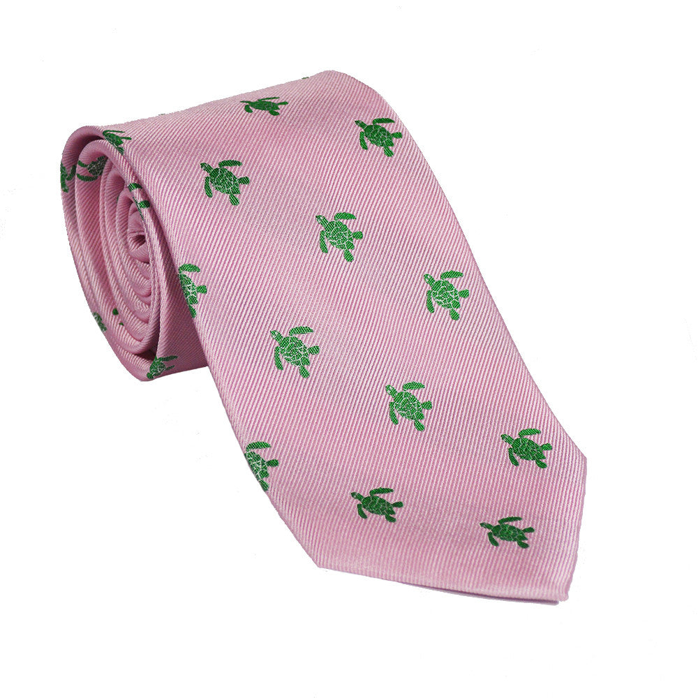 Turtle Necktie - Green on Pink - SummerTies