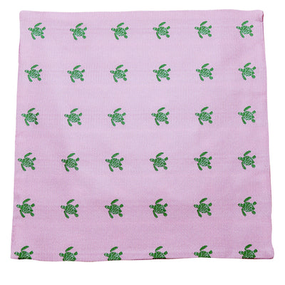 Turtle Pocket Square - Green on Pink - SummerTies  - 2
