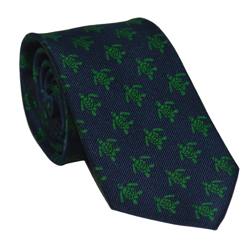 Turtle Necktie - Green on Navy, Woven Silk