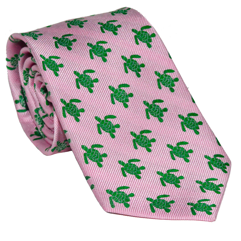 Turtle Necktie - Green on Pink, Woven Silk - SummerTies