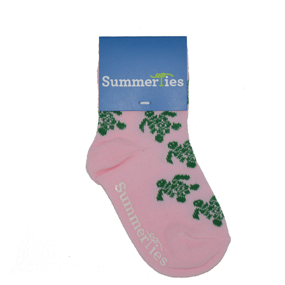 Turtle Socks - Toddler Crew Sock - Green on Pink