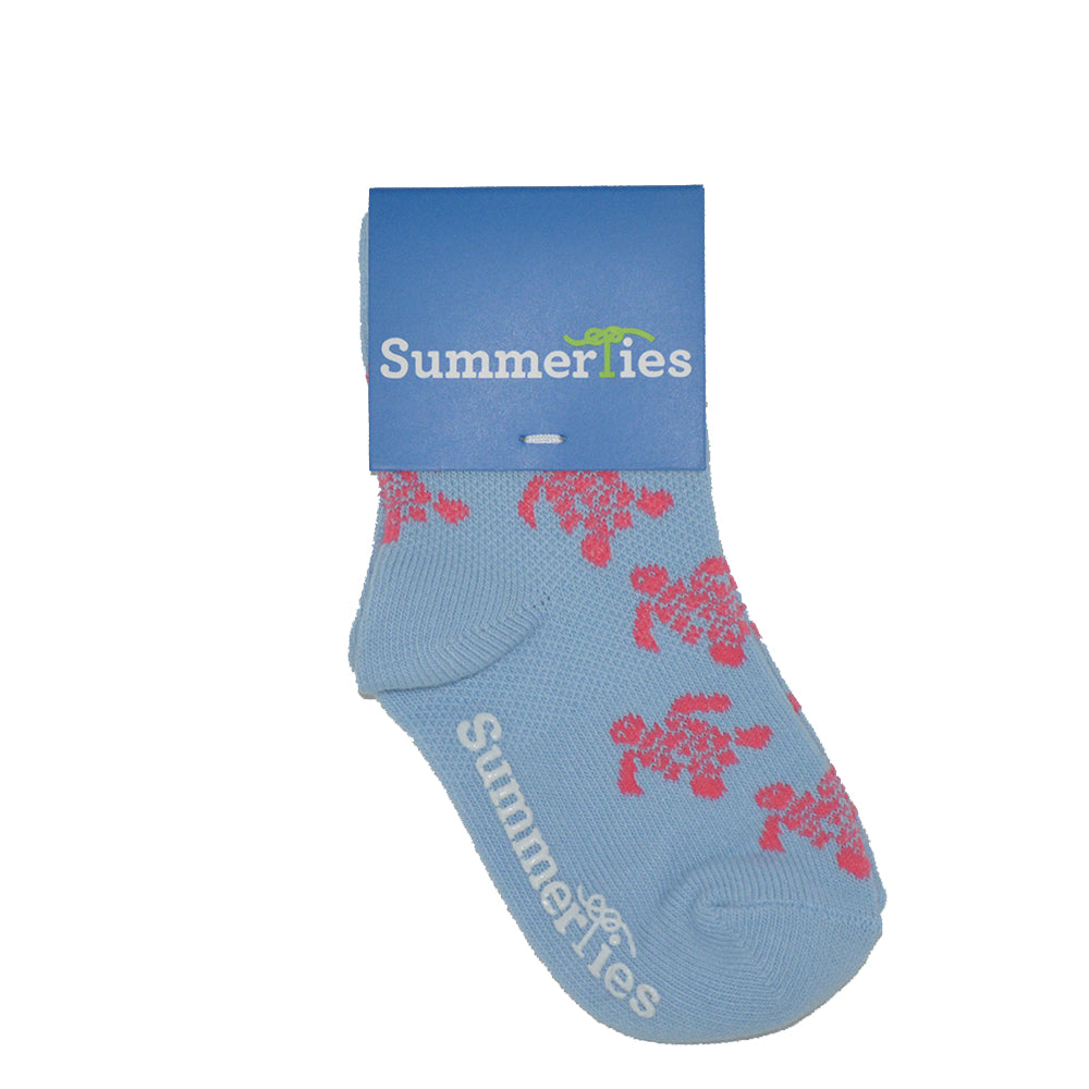 Turtle Socks - Toddler Crew Sock - Pink on Light Blue
