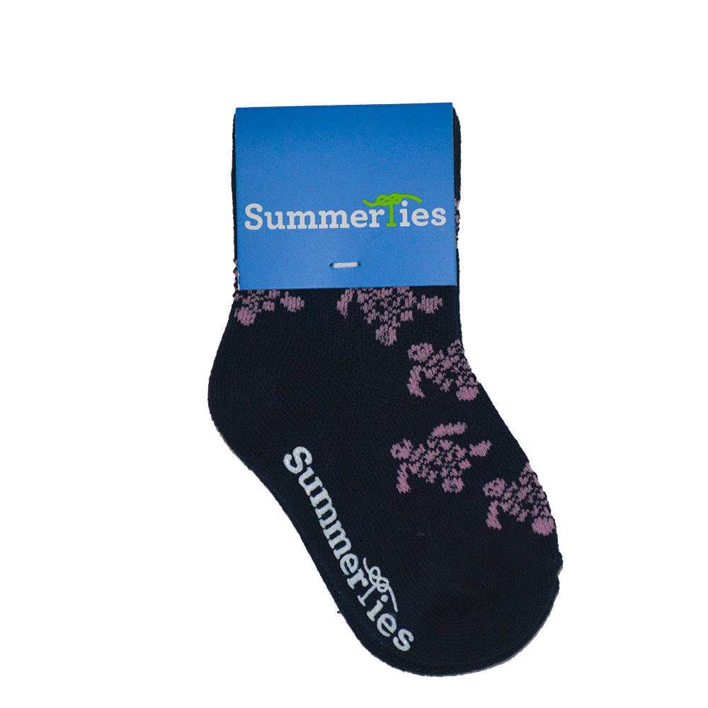 Turtle Socks - Toddler Crew Sock - Pink on Navy