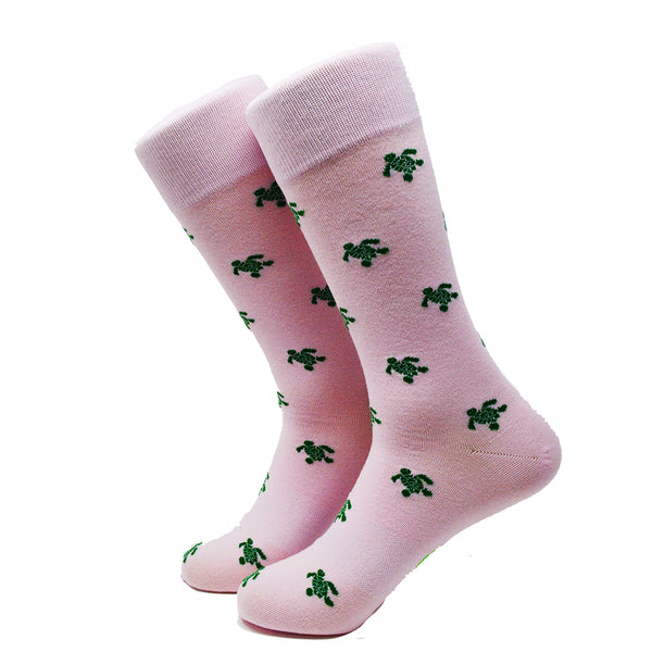 Turtle Socks - Men's Mid Calf - Green on Pink - SummerTies