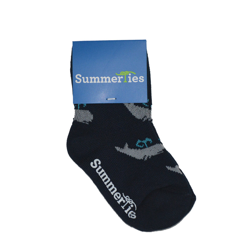 Whale Socks - Toddler Crew Sock - Navy - 5 Pairs - SummerTies
