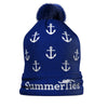 Anchor Winter Hat - White on Navy