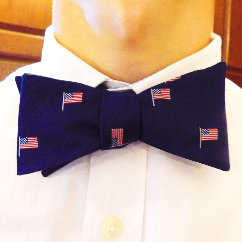 American Flag Bow Tie - Navy, Woven Silk - Spread - SummerTies