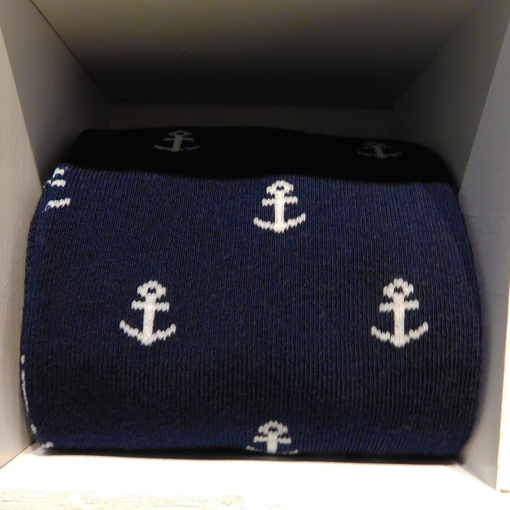 Anchor Socks - Men's Mid Calf - White on Navy - SummerTies
