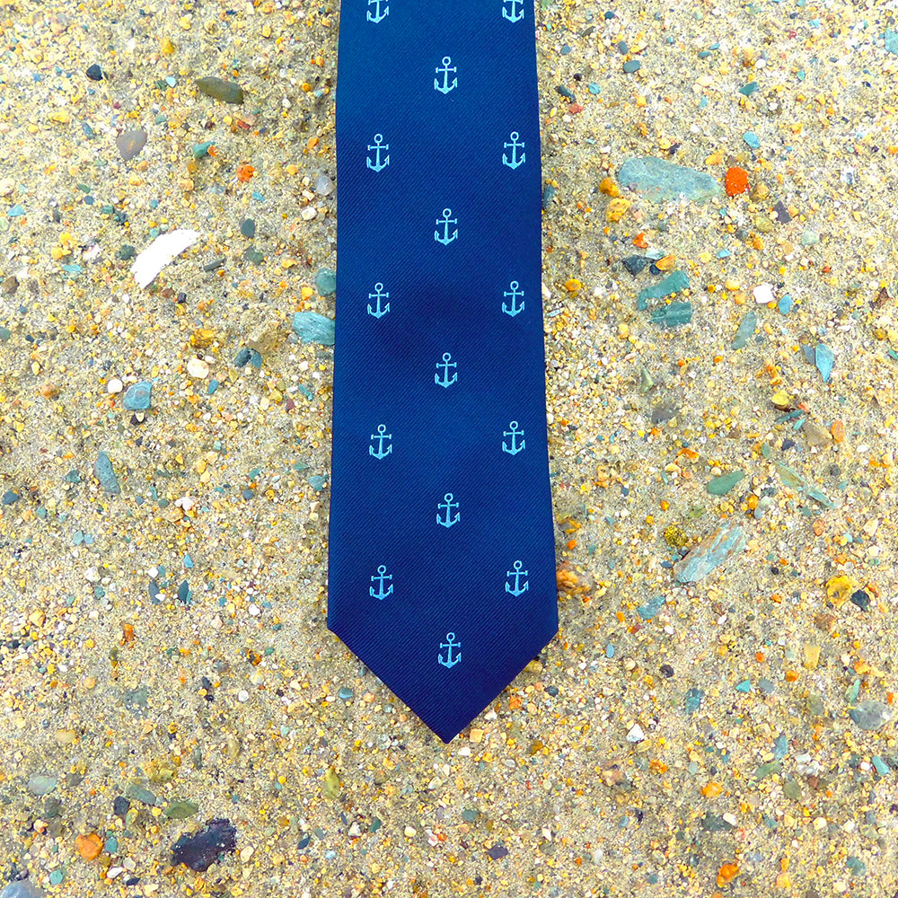 Anchor Necktie - Blue on Navy, Woven Silk - SummerTies