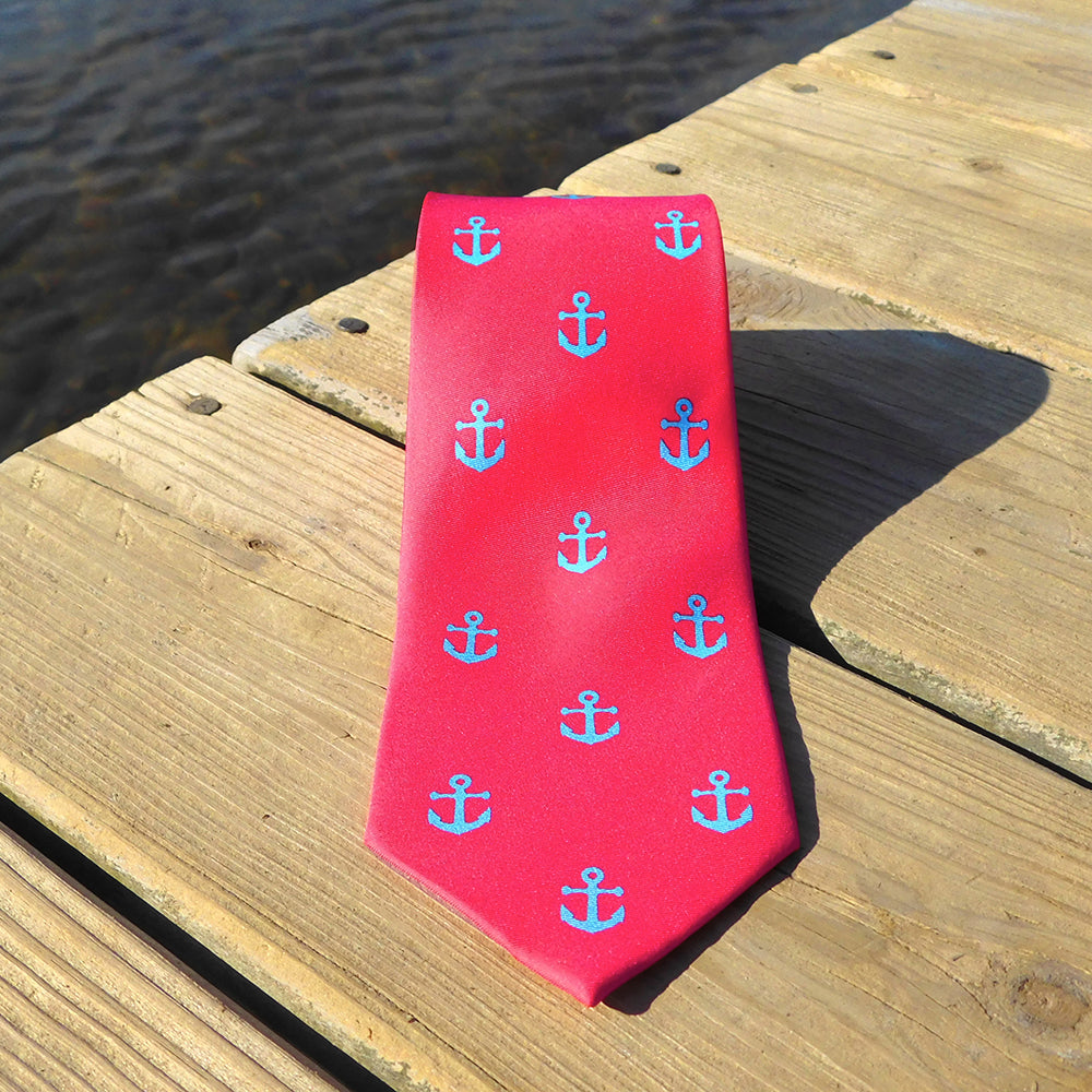 Anchor Necktie - Light Blue on Coral, Printed Silk - SummerTies