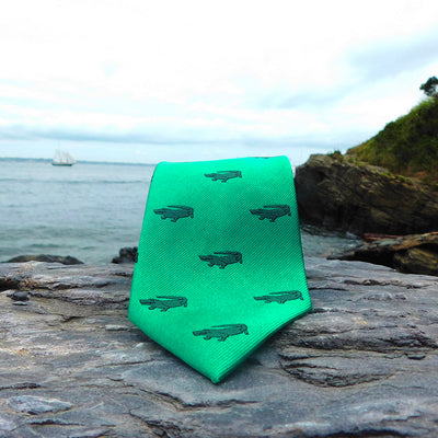 Alligator Necktie - Green, Woven Silk - SummerTies