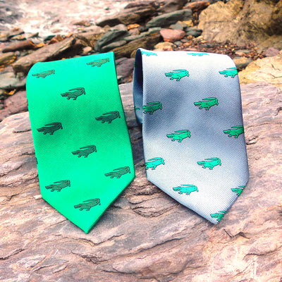 Alligator Necktie - Green, Woven Silk
