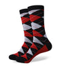 Argyle Socks - Black, Red, Light Grey - Men's Mid Calf Short - SummerTies