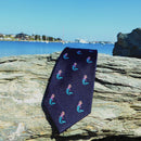 Mermaid Necktie - Navy, Woven Silk - SummerTies
