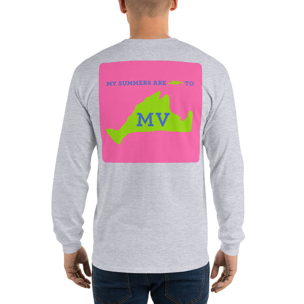 My Summers are Tied to Martha's Vineyard Blue and Green with Pink Block Long Sleeve T-Shirt - Multiple Colors - SummerTies