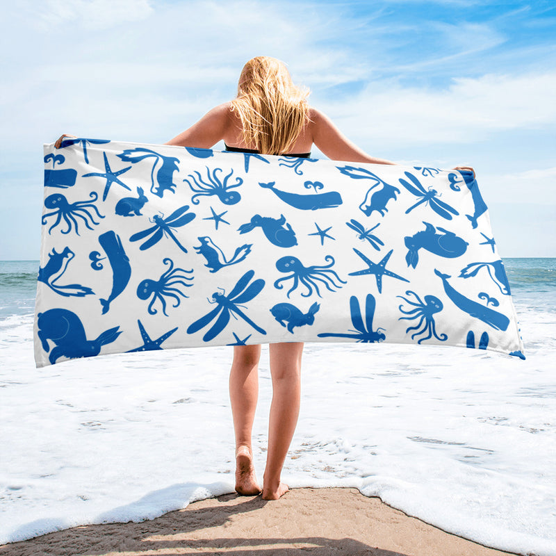 Multi Creature Towel - Blue on White