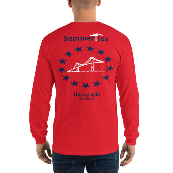 Newport 4th of July Long Sleeve T-Shirt - Red - SummerTies