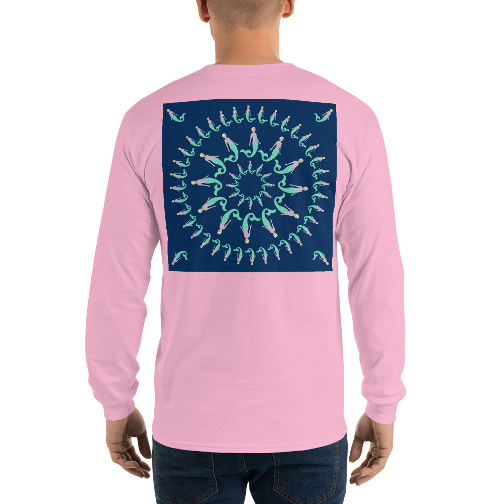 Mermaid Pinwheel Navy Long Sleeve T-Shirt - Multiple Colors