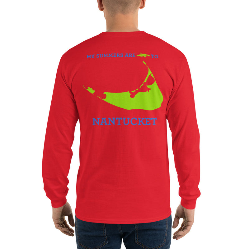 My Summers are Tied to Nantucket Blue and Green Long Sleeve T-Shirt - Multiple Colors - SummerTies