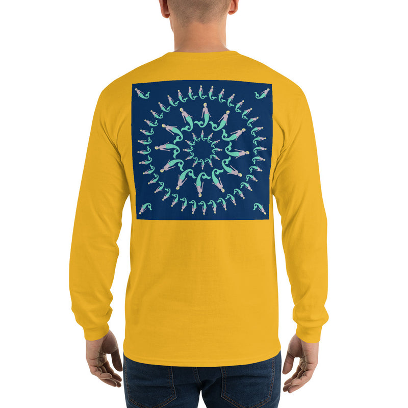 Mermaid Pinwheel Navy Long Sleeve T-Shirt - Multiple Colors - SummerTies