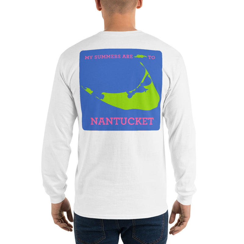 My Summers are Tied to Nantucket Pink and Green with Blue Block Long Sleeve T-Shirt - Multiple Colors - SummerTies