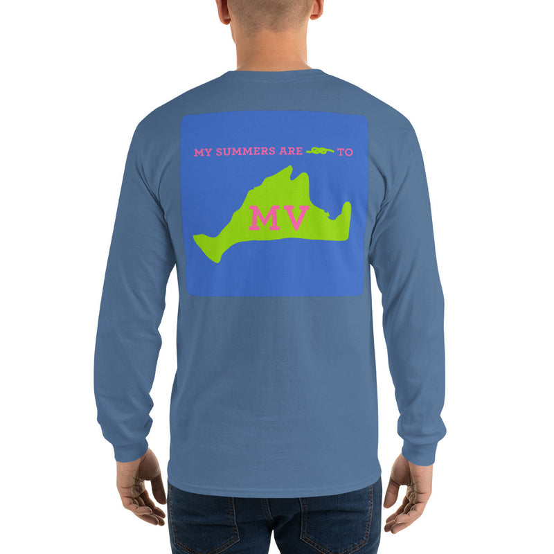 My Summers are Tied to Martha's Vineyard Pink and Green with Blue Block Long Sleeve T-Shirt - Multiple Colors - SummerTies