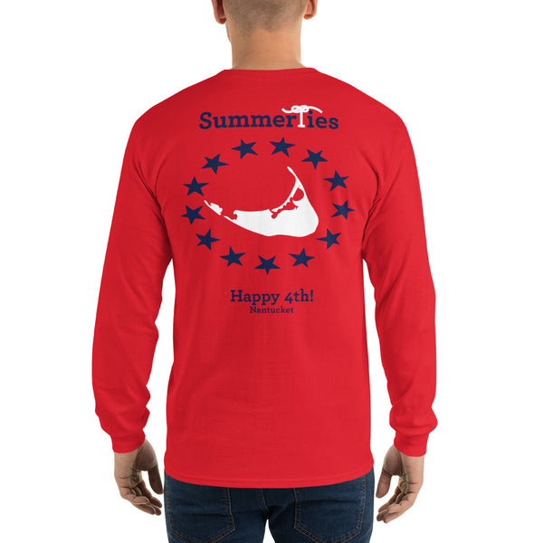 Nantucket 4th of July Long Sleeve T-Shirt - Red - SummerTies