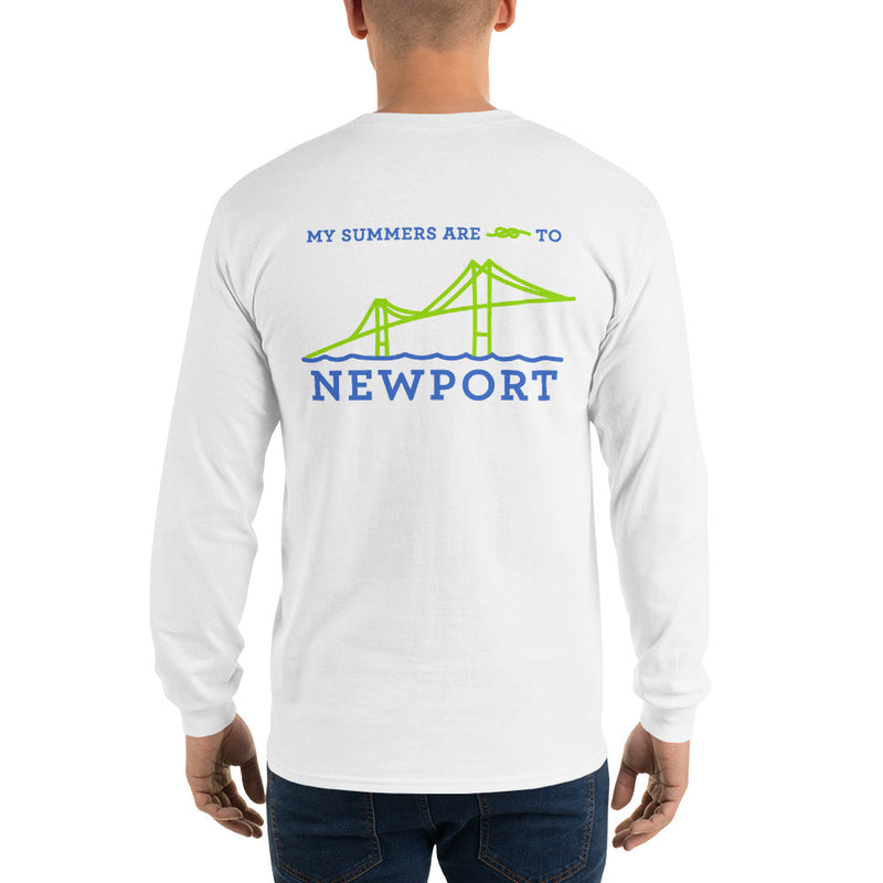 My Summers are Tied to Newport Bridge Blue and Green no Block Long Sleeve T-Shirt - Multiple Colors - SummerTies